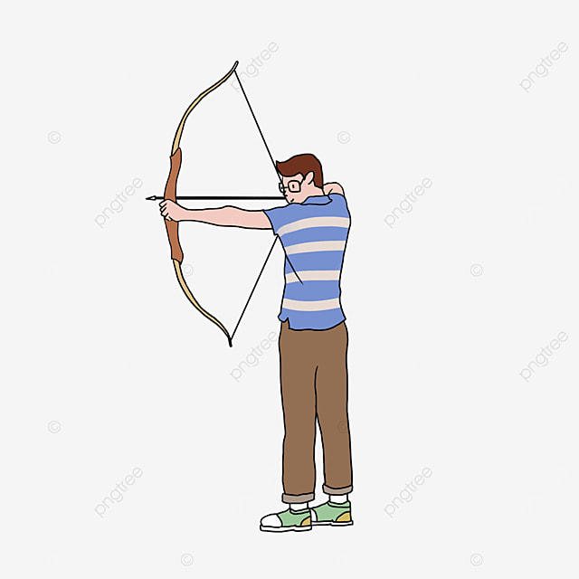 archery male striped character clip art