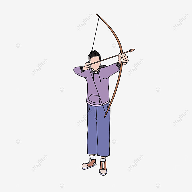 archery purple character clip art