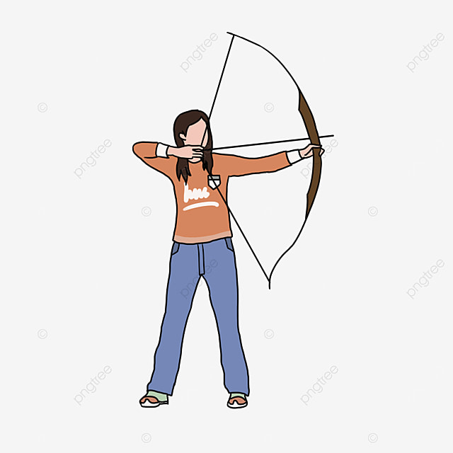 archery red female character clip art