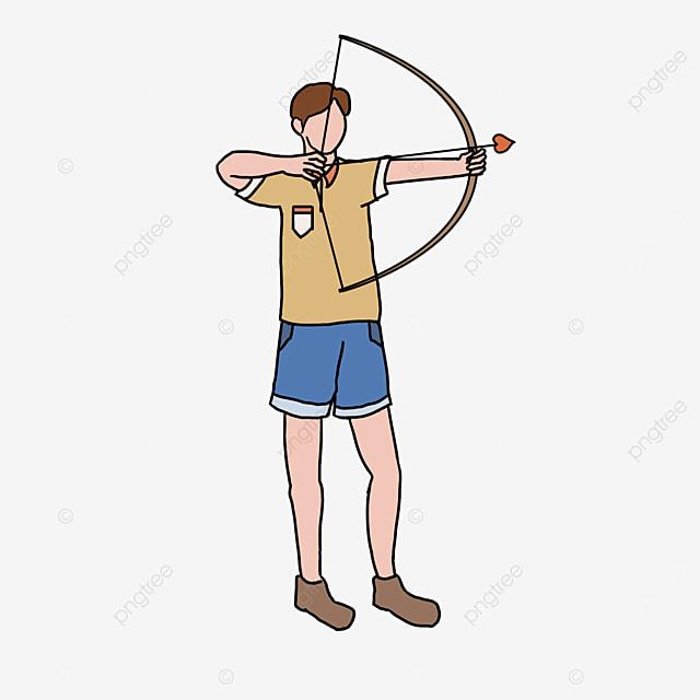 archery yellow character clip art
