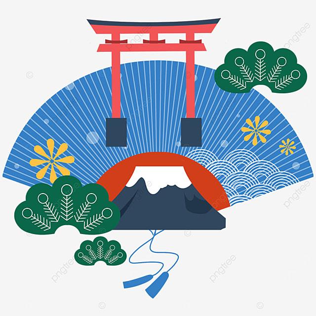 blue fan fuji mountain torii