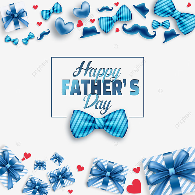 blue gift box happy fathers day border