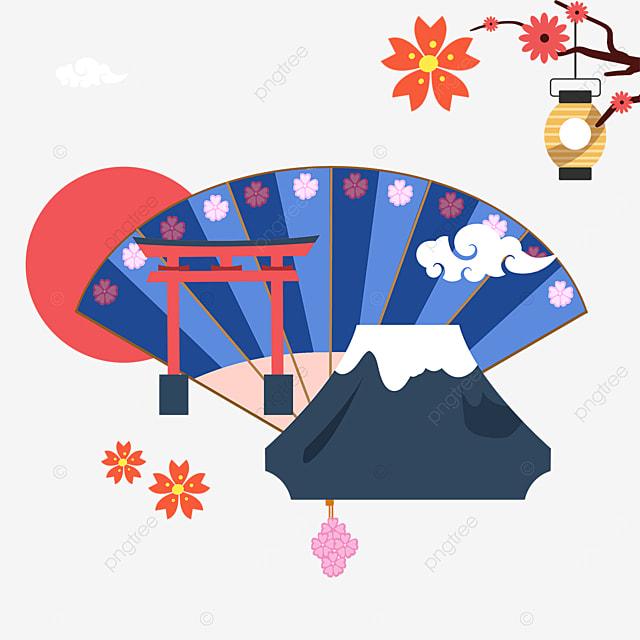 blue mount fuji torii fan shape