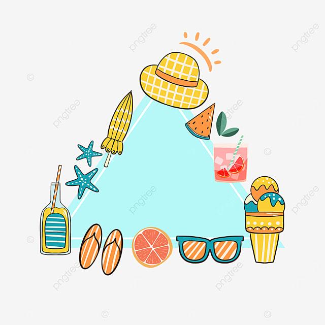 blue summer cartoon sun hat border