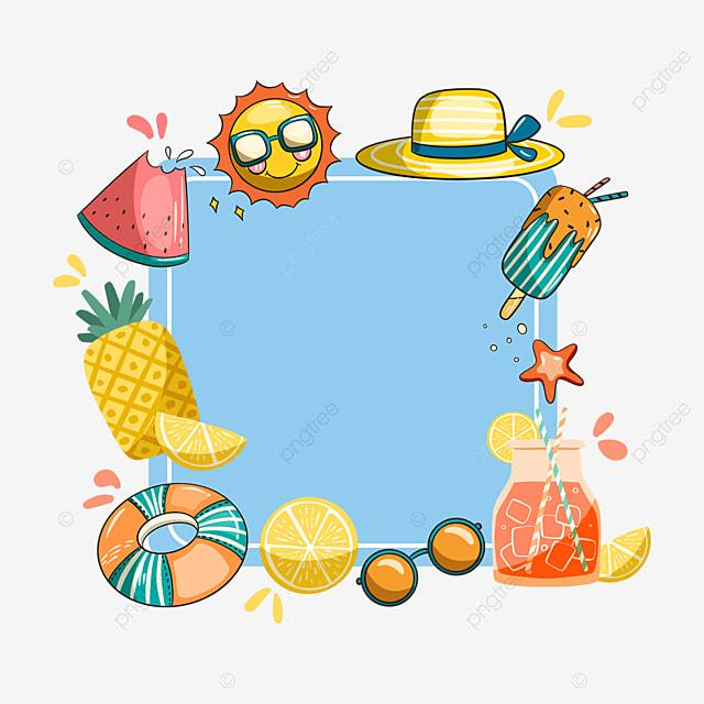 blue summer juice pineapple border