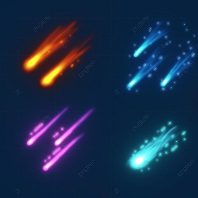 falling meteor color luminous light effect