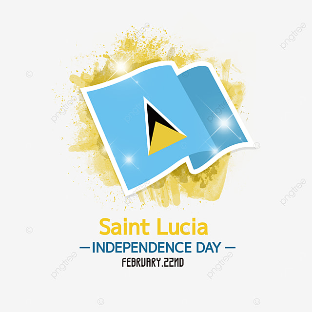 flag yellow brush saint lucia independence day