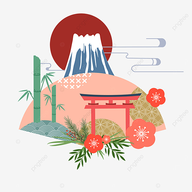 geometric pattern fan mount fuji torii