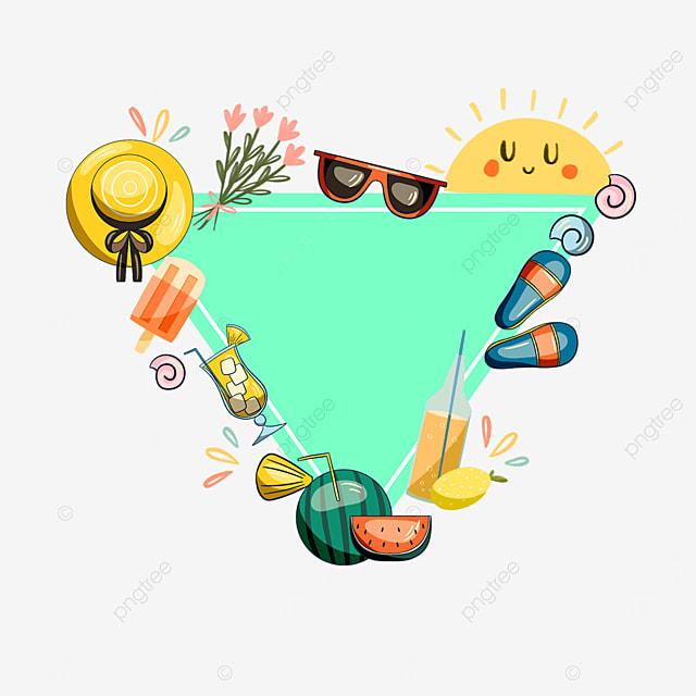 green summer sunglasses sun hat sticker border