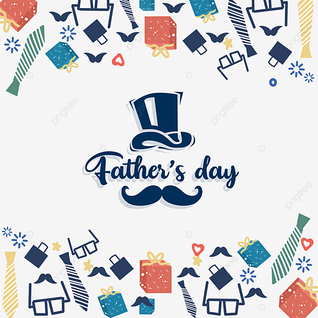 hat mustache happy fathers day border