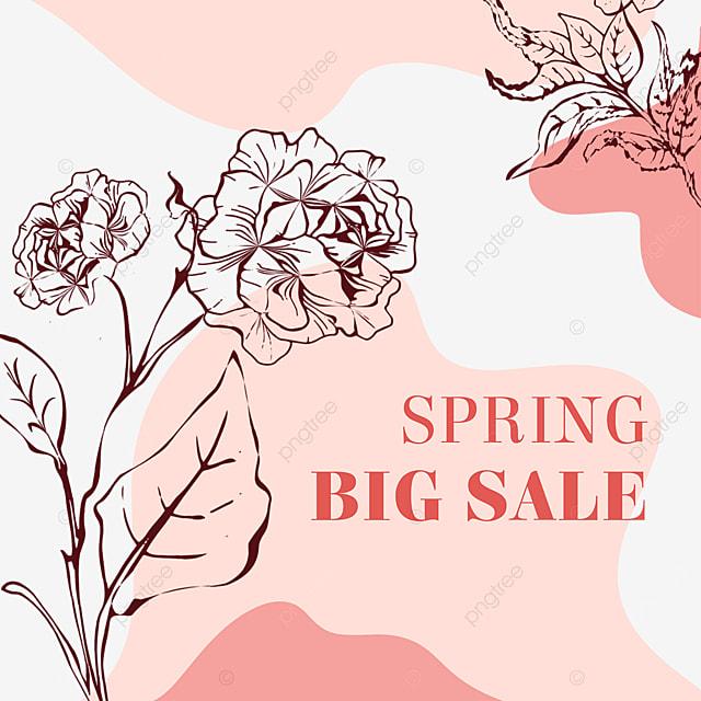 pink elegant flower linear draft promotion label