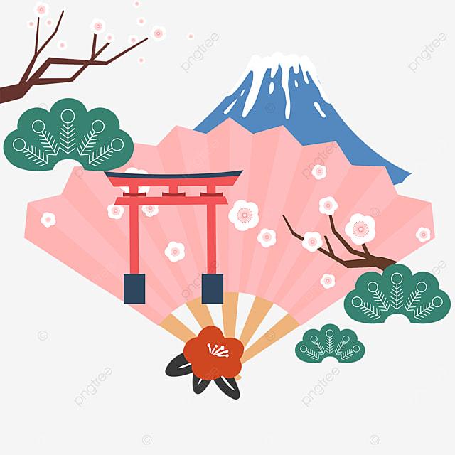 pink fan mount fuji torii