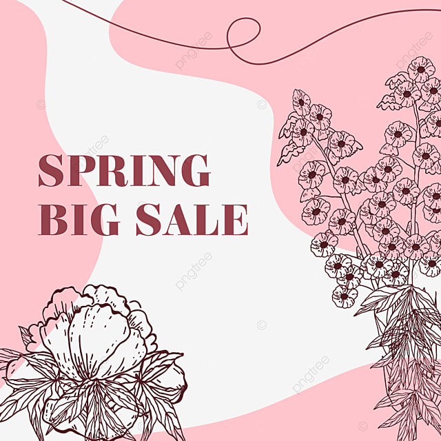 pink flower color block line drawing promotion and price reduction
