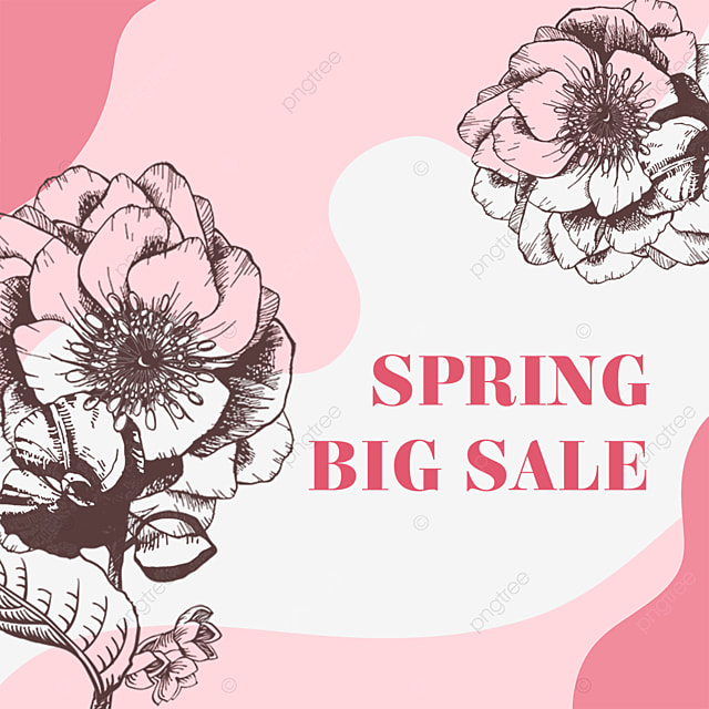pink flower lineart promotional label