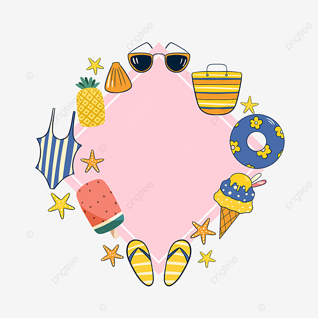 pink summer cartoon sticker border