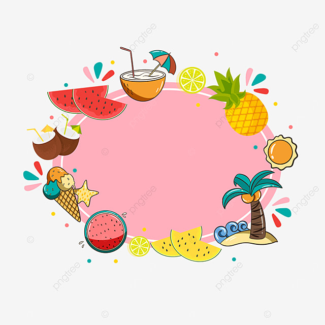 pink summer fruit sticker border