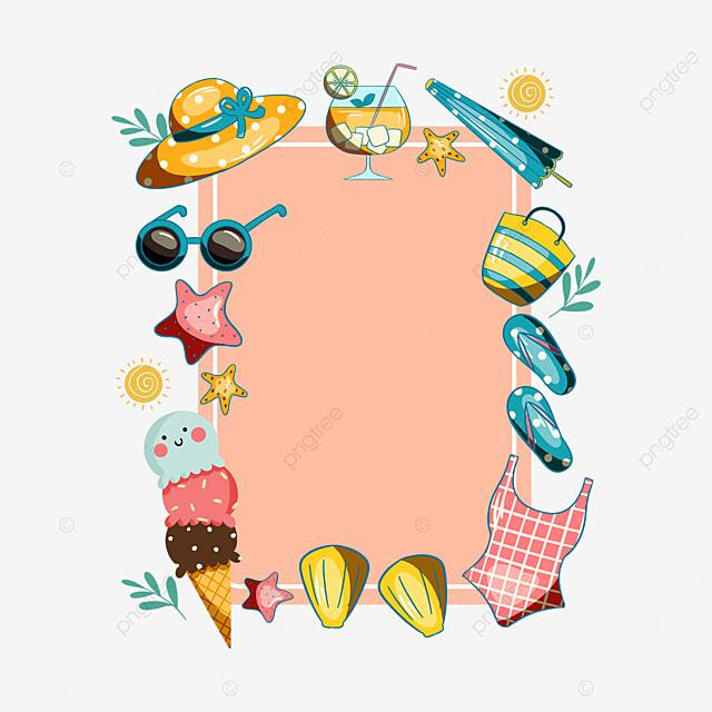 pink summer sticker ice cream border