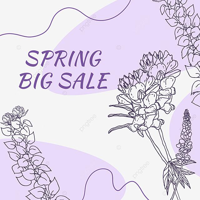purple floral lineart promotional label