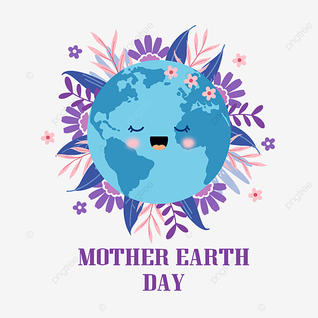 purple mother earth day surrounded by leaves