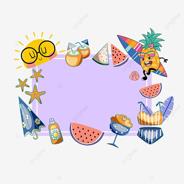 purple summer sun surfing pineapple border