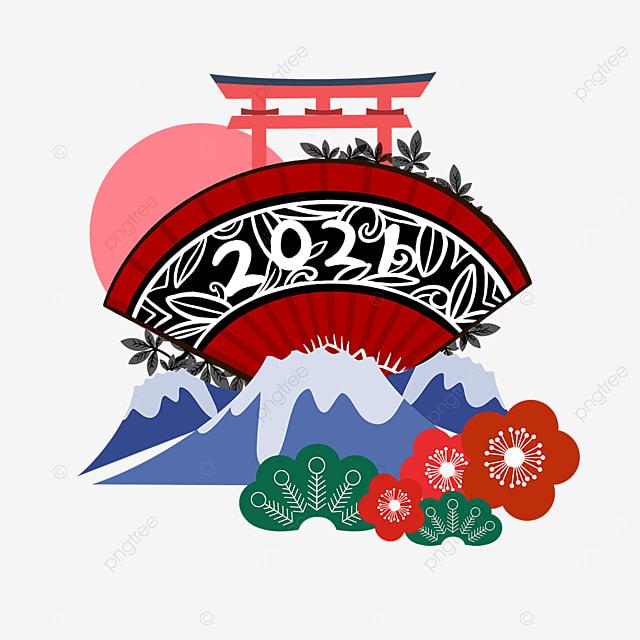 red 2021 fan shaped mount fuji torii
