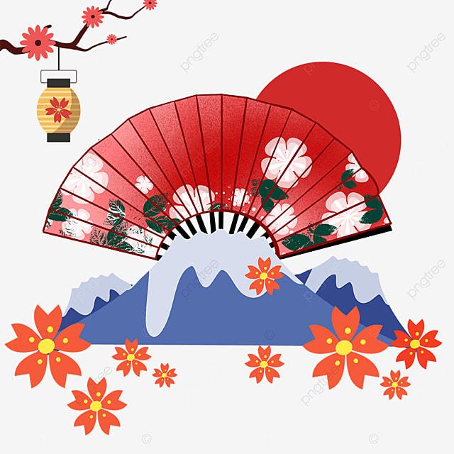 red torii fan shaped mount fuji