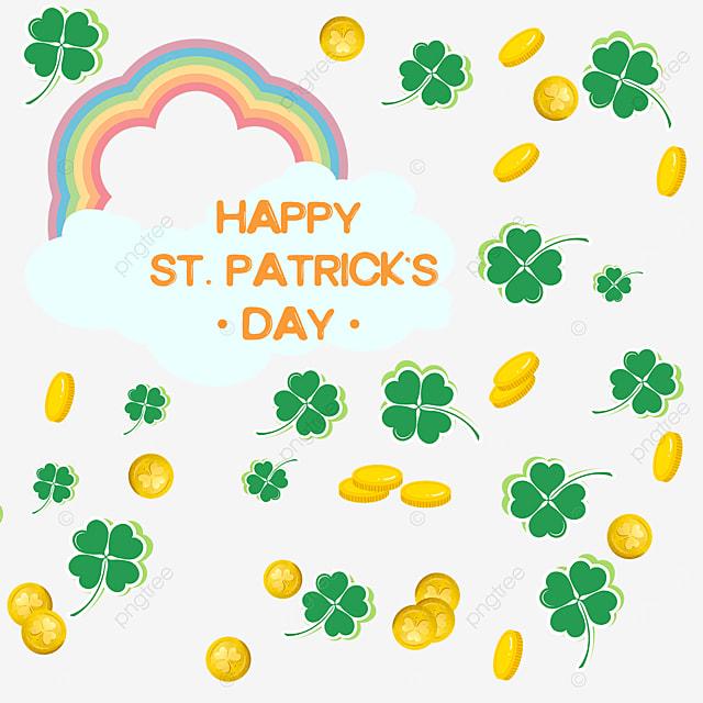 saint patricks day shamrock rainbow gold coin