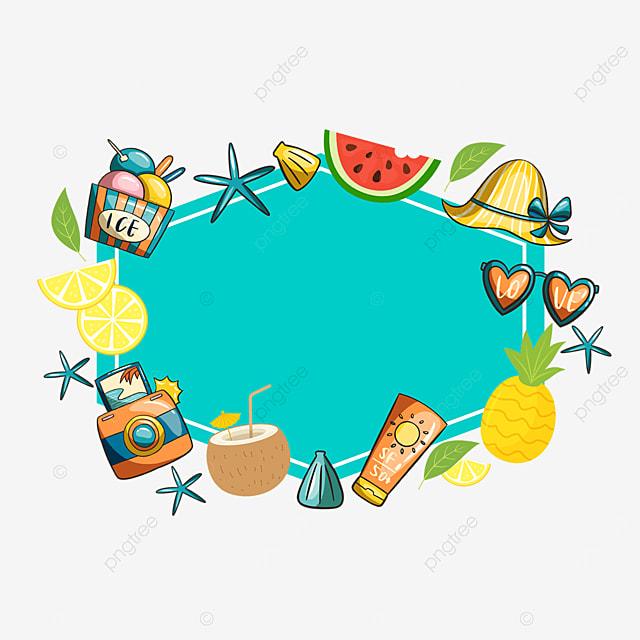 summer cute fruit sunglasses sticker border