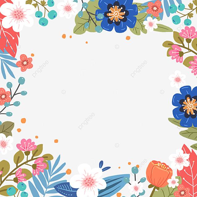 various blooming flowers in spring