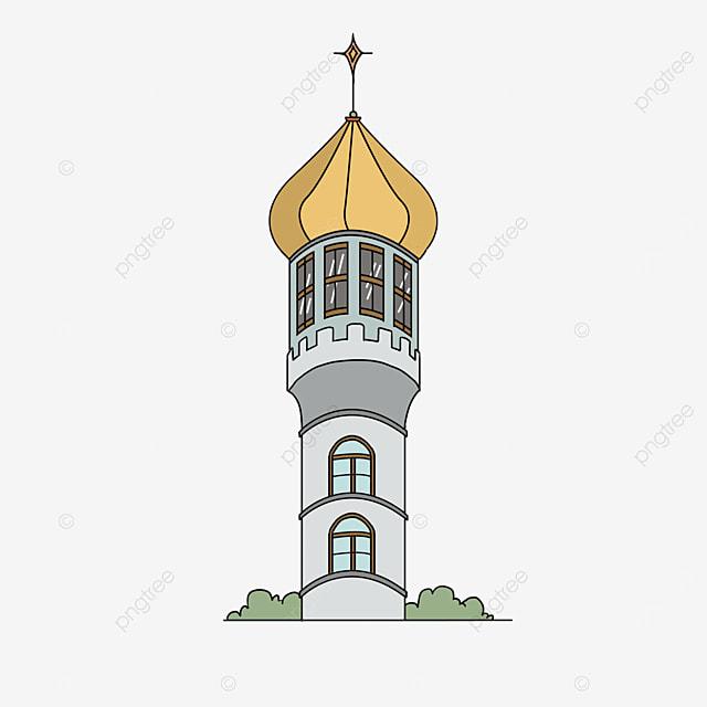 yellow european tower clip art