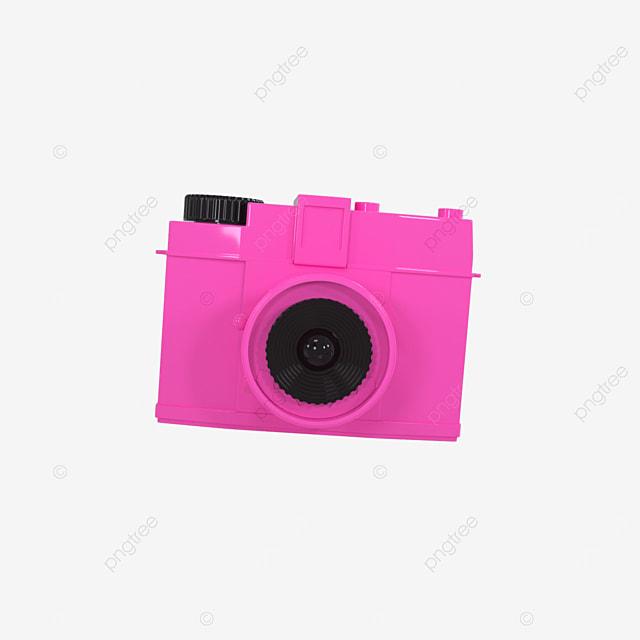 3d camera cute pink