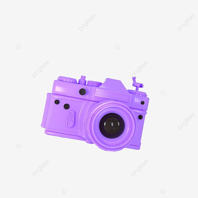 3d camera cute purple