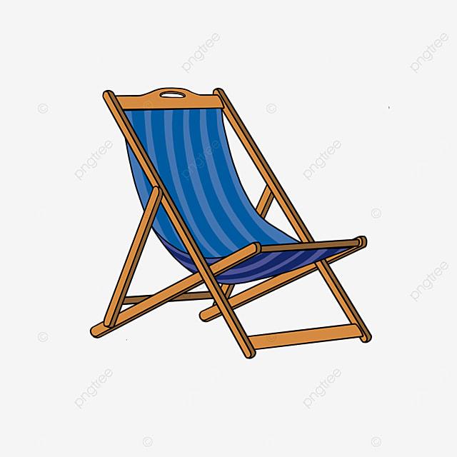 beach chair resting by the sea clip art