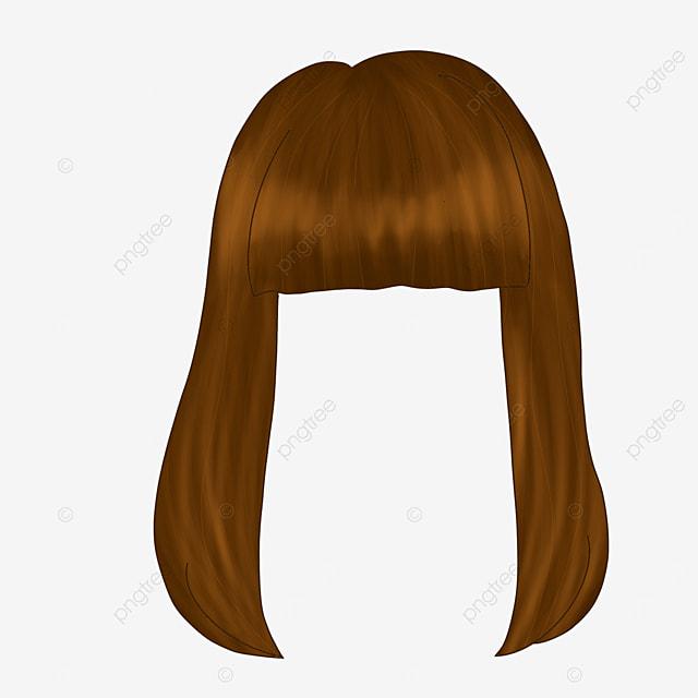 beautiful lady long hair wig clipart