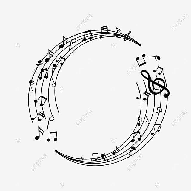 black creative music stave musical note border