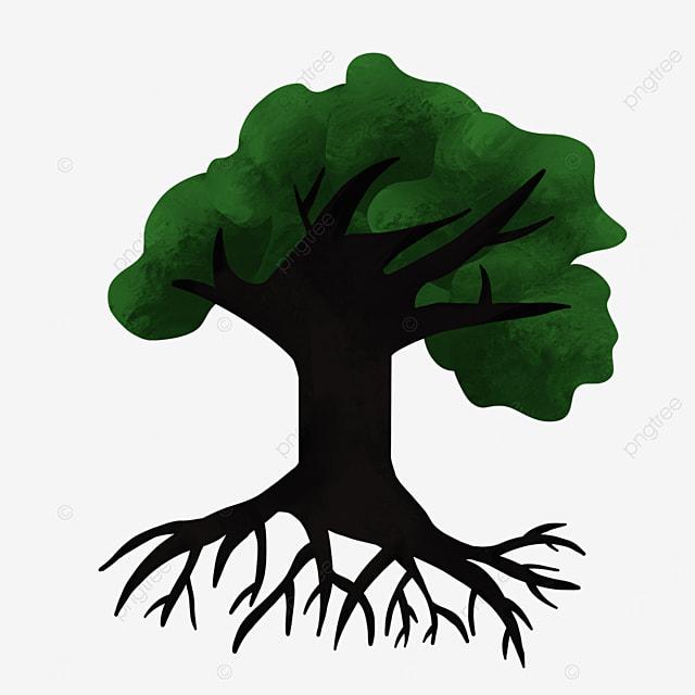 black dense tree roots clipart
