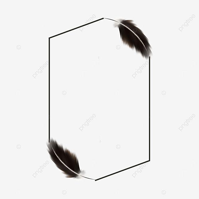 black feather rectangle border decoration