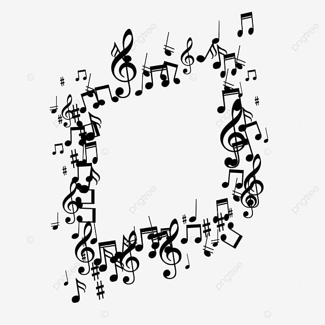 black geometric creative music note border