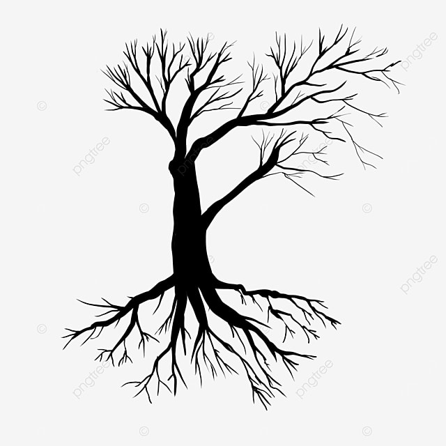 black silhouette tree root clipart