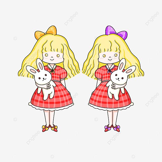 blonde twins clip art