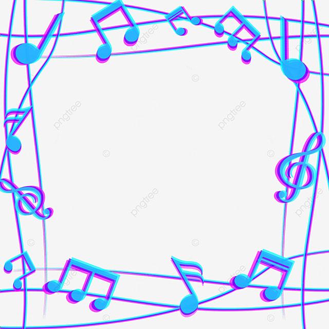 blue creative music note border