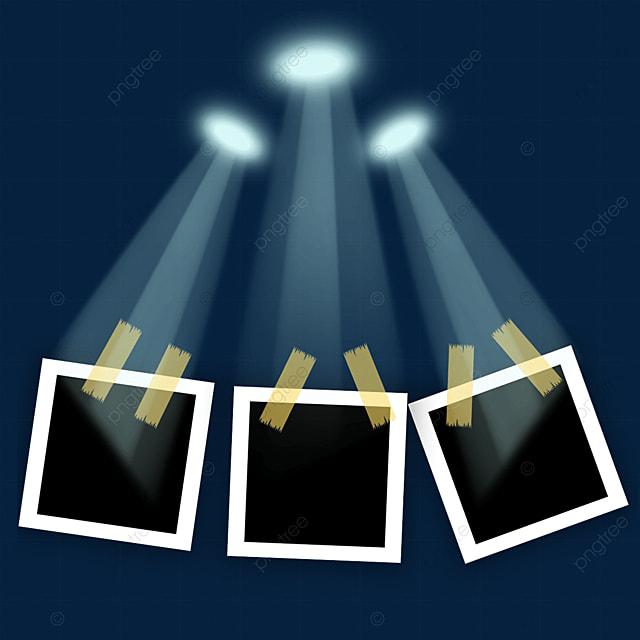 blue luminous spotlight photo frame