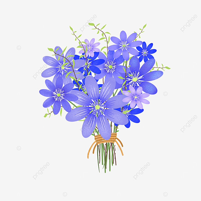 blue purple branches tied rope bouquet clipart