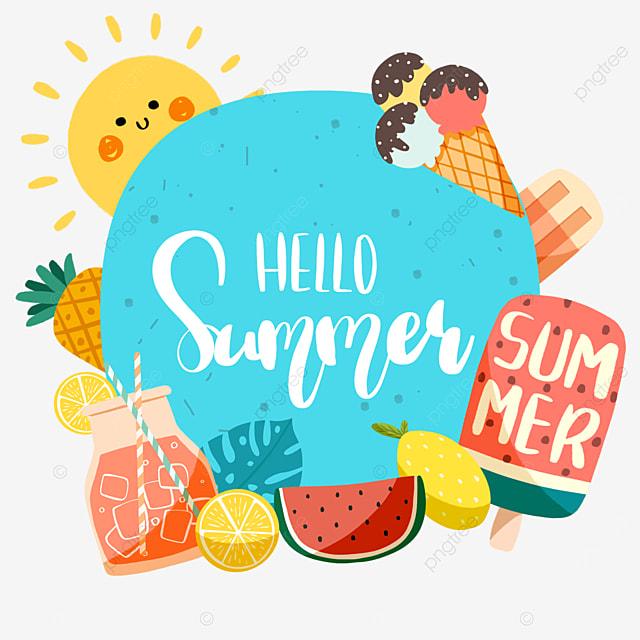 blue summer cute fruit border