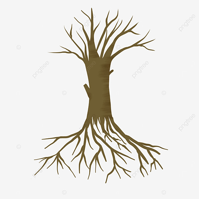 brown and yellow dry tree roots clip art