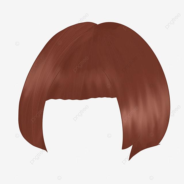 brown lady wig clip art