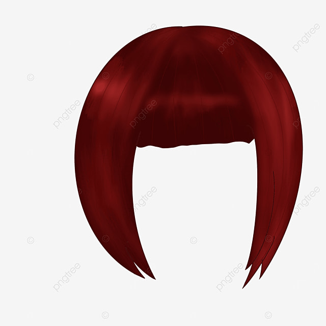 brown red lady wig clip art