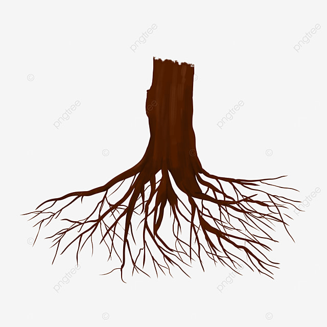 brown tree roots clipart