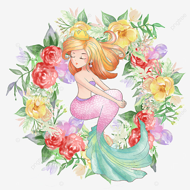 cartoon elegant mermaid with rose wreath