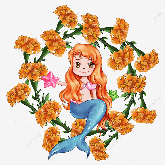 cartoon mermaid carnation wreath